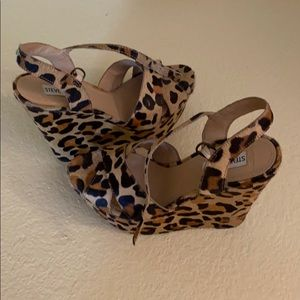 Steve Madden leopard wedge pony hair shoes…